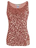 Anna-Kaci Womens Sparkle & Shine Glitter Sequin Embellished Sleeveless Round Neck Tank Top, Rose Gold, Medium