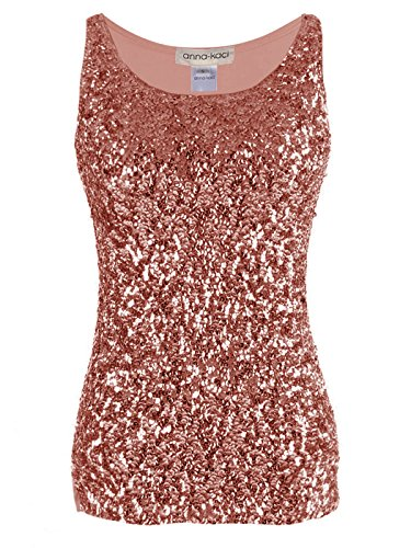 Anna-Kaci Womens Sparkle & Shine Glitter Sequin Embellished Sleeveless Round Neck Tank Top, Rose Gold, Large