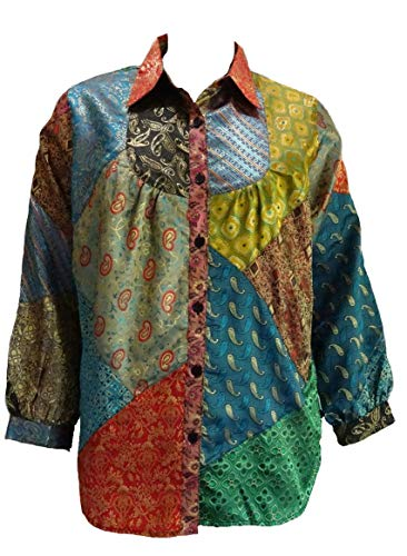 - Sacred Threads Satin Button Front Funky BiB Patched Big Top Shirt Large