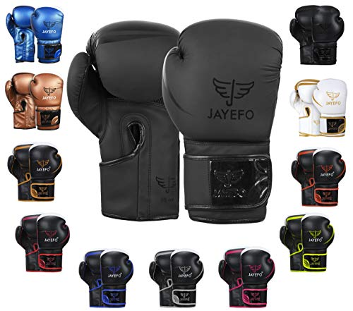 Jayefo Glorious Boxing Gloves Muay Thai Kick Boxing Leather Sparring Heavy Bag Workout MMA Pro Leather Gloves Mitts Work…