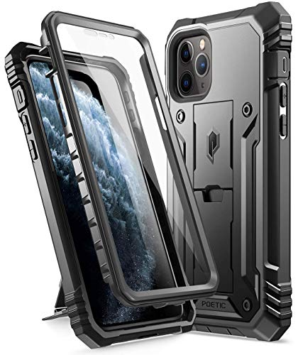 iPhone 11 Pro Case, Poetic Full-Body Dual-Layer Shockproof Rugged Protective Cover with Kickstand, Built-in-Screen Protector, Revolution Series, for Apple iPhone 11 Pro (2019) 5.8 Inch, Black