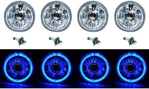 5-3//4 Halogen Blue LED Ring Halo Angel Eyes Headlight Headlamp Light Bulbs Set