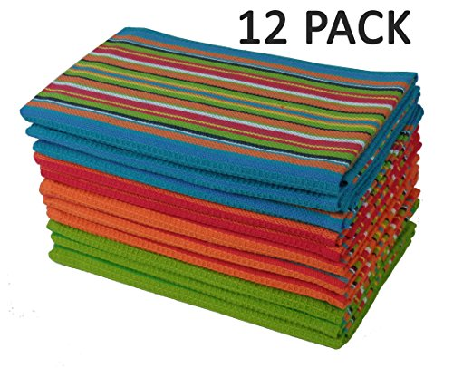 Cotton Craft 12 Pack Salsa Stripe Multicolor Kitchen Towels 16x28 Pure 100 - Gift Pack Salsa