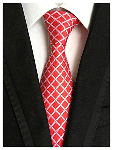 Wehug Men's Classic Red Plaid Tie Silk Woven Necktie Jacquard Neck Ties For Men LD0043 ()