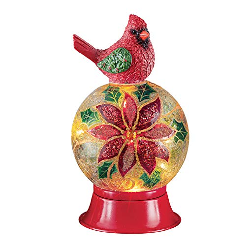 Collections Etc Cardinal with Lighted Decorative Glass Ball Tabletop Winter Decoration, Small