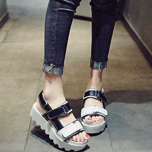 verano mujer zapatos plataforma de romanos al libre secado velcro mujer mujer tacón aire rápido abierta talón alto nueva sandalias grueso de plataforma deportes zapatos negro de ligero SOHOEOS ligero IPvqE