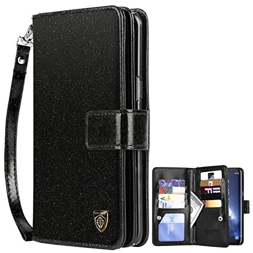 Galaxy S8 Plus Case, Samsung Galaxy S8 Plus Case, BENTOBEN Glitter Faux Leather Flip Credit Card Holder Wristlet Shockproof Protective Wallet Case for Samsung Galaxy S8 Plus (6.2 Inch), Black