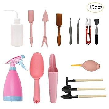 Set de 15 piezas de mini herramientas de jardinería para plantas suculentas, botellas de riego