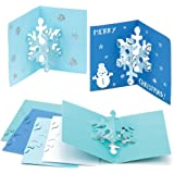 Snowflake Pop-out Cards Creative Xmas Art Supplies for Christmas Decorations/Card Making (Pack of 8)