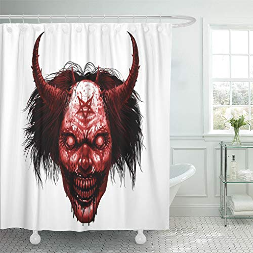 Semtomn Shower Curtain Red Face Hell Evil Smiling Clown Makeup Long Hair Shower Curtains Sets with 12 Hooks 60 x 72 Inches Waterproof Polyester -