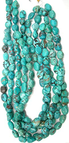 - Genuine Blue Turquoise Chunky Long Drilled Potato Nugget Beads, 16 inch Strand