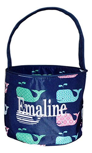 Fabric Bucket Tote Bag for Children - Toys - Easter Basket - Can Be Personalized (Navy Whale Print - Embroidered Name)