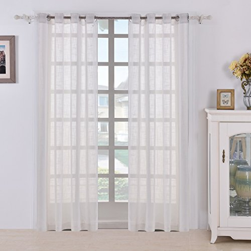 BEST DREAMCITY Faux Linen Sheer Curtains For Bedroom, Window Treatment  Drapes, Grommet Top, Set Of 2 Panels, W52 By L84, White