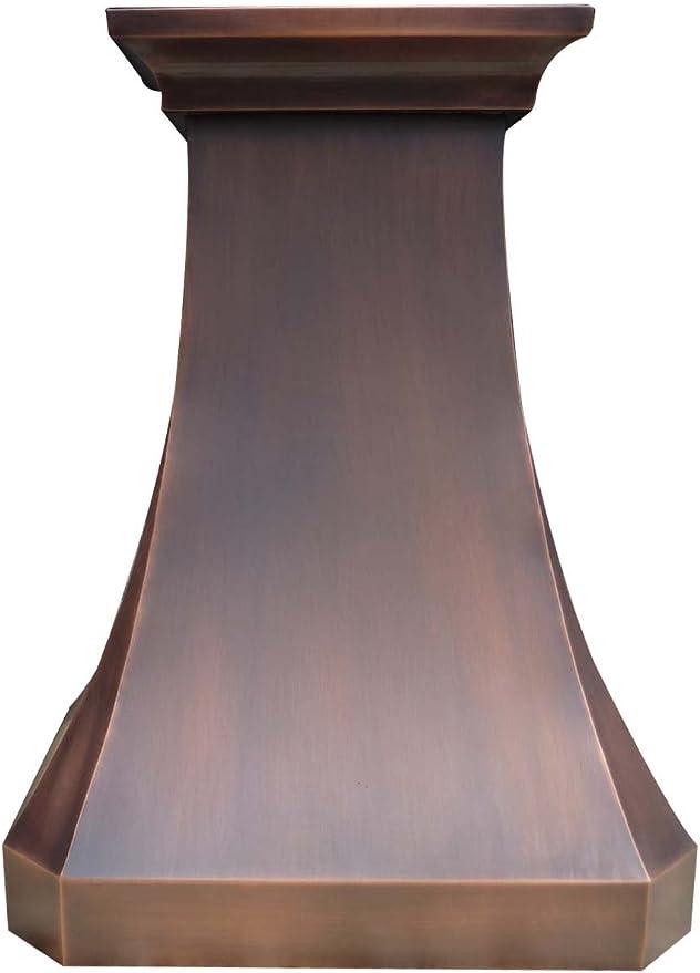SINDA Pared de textura suave, campana de cobre sólido con ventilador centrífugo de alto flujo de aire, ventilación de acero inoxidable con forro y motor interno, filtro deflector, 30 pulgadas de ancho: