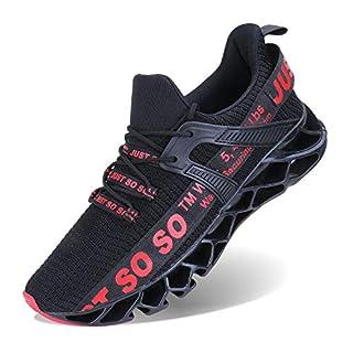 COKAFIL Mens Walking Shoes Running Non Slip Blade Type Sneakers, F-Red, 9