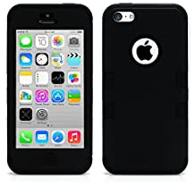 iPhone 5C Case, MagicMobile® Hybrid Impact Shockproof Cover Hard Armor Shell and Soft Silicone Skin Layer [ Black - Black ] with Free Screen Protector / Film and Pen Stylus