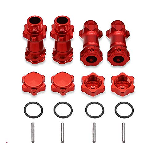 4Pcs Aluminum 17MM Wheel Hex Hub Extension Adapter 37MM Capped Longer Combiner Coupler for 1/8 RC Model Car with Anti-Dust Cover Nuts -