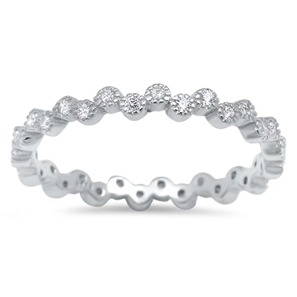 Oxford Diamond Co Eternity Band Cubic Zirconia .925 Sterling Silver Ring Size 9