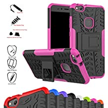 Huawei P10 Lite Case,Mama Mouth Shockproof Heavy Duty Combo Hybrid Rugged Dual Layer Grip Cover with Kickstand For Huawei P10 Lite 2017 (With 4 in 1 Free Gift Packaged),Pink