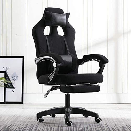 Rindasr Silla de oficina, adulto Gaming Silla reclinable Racing, pies de nylon de desplazamiento de la polea, con reposacabezas y almohada cintura escritorio ergonomico ordenador y silla sedentario ci