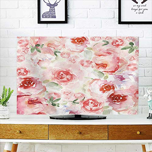 """Price comparison product image PRUNUS Cord Cover for Wall Mounted tv Watercolor Flower Background for Invitation Card Floral Hand Painted Greeting Cards Cover Mounted tv W20 x H40 INCH / TV 40""""-43"""""""
