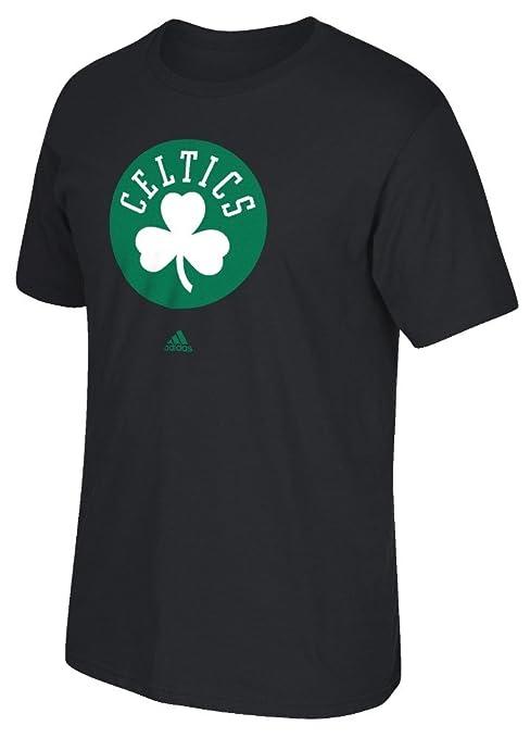 8fb37d93e Amazon.com : Boston Celtics Adidas Primary Clover Logo Black T Shirt ...
