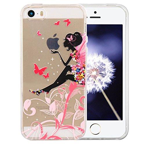 ZXLZKQ Coque pour iPhone 5C Etui Soft TPU Silicone Housse Case Series Apple Butterfly Girl Noir Colorées Aile Coque pour Apple iPhone 5C (non applicable iPhone 5S)
