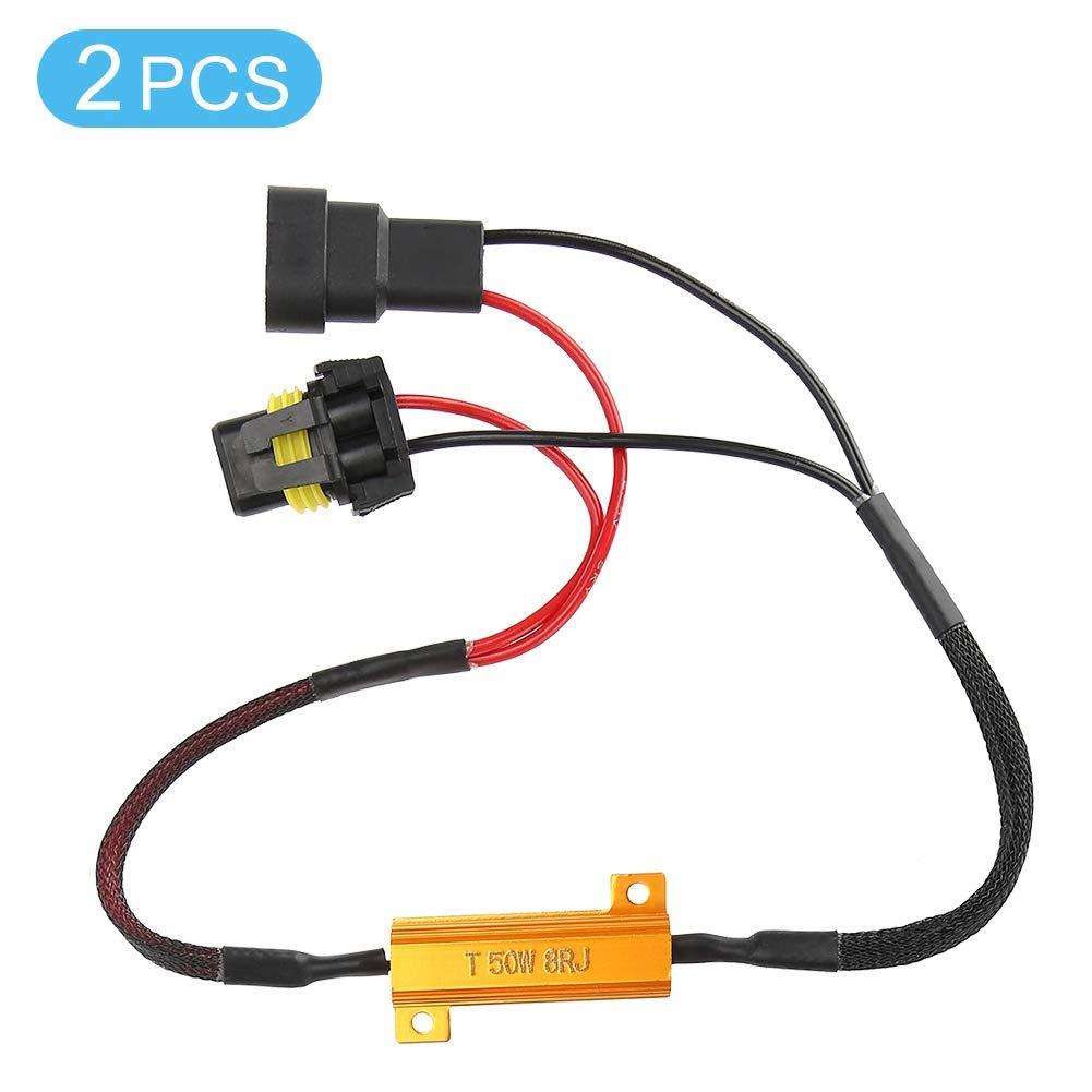 Akozon 2Pcs Automotive LED Decoder Fehlerfreie Lastwiderstand Verdrahtung Kein Fehler Decoder Anti-Flicker Resistor Decoder f/ür 9005//9006 Auto Decoder