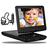 DR. J 12.5' Portable DVD CD Player 10.5' HD Swivel Screen with 5 Hours Rechargeable Battery, Region-Free Video Player with Remote Control and AV Cable Sync TV with Car Charger, Red Color in Stock