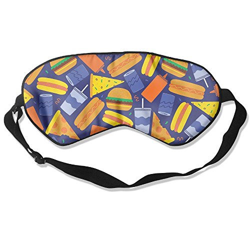 WUGOU Sleep Eye Mask Fast Food Lightweight Soft Blindfold Adjustable Head Strap Eyeshade Travel Eyepatch -