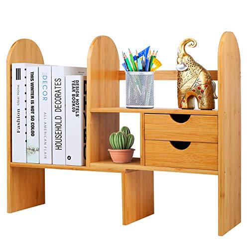 Hossejoy - Estanteria de bambu Ajustable para Escritorio, estanteria con cajones, Estante de exhibicion Multiusos para Accesorios de Oficina, Cocina o bano