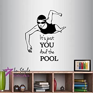 Wall Vinyl Decal Home Decor Art Sticker Anime It's Just You And The Pool Phrase Lettering Quote Girl Woman Swimming Water Sport Sportswoman Kids Nurseryl Room Removable Stylish Mural Unique Design