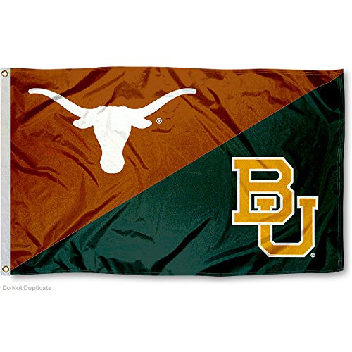 College Flags and Banners Co. Texas vs. Baylor House Divided 3x5 Flag