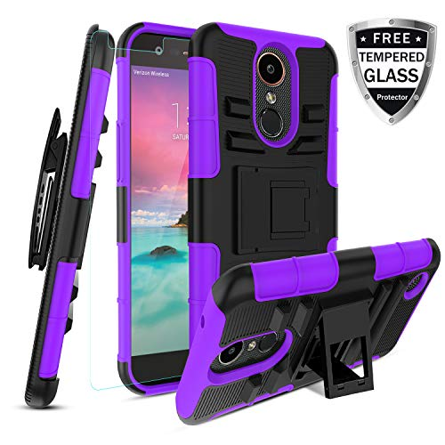 LG K20 Case/K20 plus/K20 V K20V/Harmony/Grace LTE with[Tempered Glass  Screen Protector] [Built-in Kickstand] Rotatable Belt Clip Holster Dual  Layer
