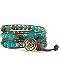 Celtic Knot Bracelet Leather Wrap with Mixed Beads Synthetic-Turquoise and Synthetic-Jasper