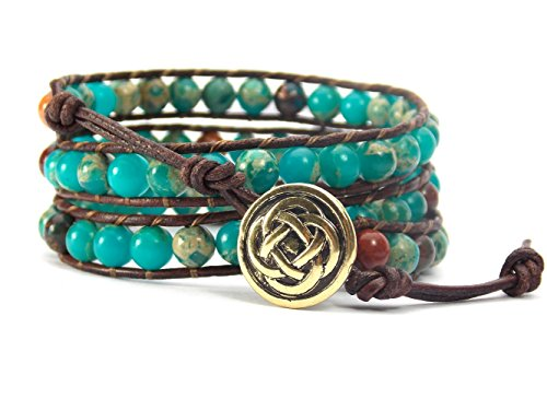 Celtic Knot Bracelet Leather Wrap with Mixed Beads Synthetic-Turquoise and Synthetic-Jasper (Gold-Tone Button)