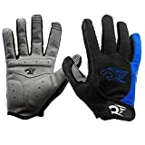 Tianmei 2PCS New Fashion Men's Women's Sportswear Cycling Mountain Bike Bicycle Motorcycle Riding Gloves Outdoor Sports Non-Slip Shockproof Half Finger Short Gloves (Full Finger-Blue, XL (9.1in-10in)
