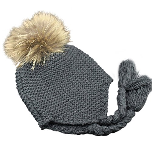 Childrens Unisex Outdoor Warm Stylish Winter Beanie Hat with Detacahable Pom Pom - Made with Real Fur -Charcoal Gray