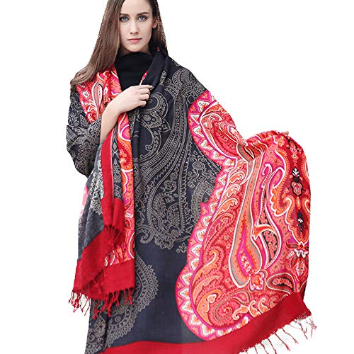DANA XU 100% Pure Wool Women's Large Traditional Cultural Wear Pashmina Scarf (Black&Red)]()
