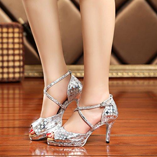 CRC Womens Stylish Peep Toe PU Leather Ballroom Morden Salsa Latin Tango Party Wedding Professional Dance Sandals Silver hPct2Wqx