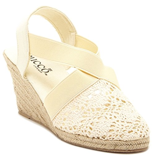 Bucco Kimora Womens Fashion Vegan Slip-On Crochet Wedge Sandals