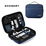 BAGSMART Travel Cable Organizer Cases Electronics Accessories Storage Bag for Hard Drives, Cables, Blue
