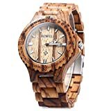 Bewell W023A Natural Wooden Watches for Men with Calendar Quartz Lightweight Wrist Watch