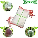 MAZU 5Pcs 16''x 24'' Garden Reusable Nylon Plant Fruit Protect Drawstring Net Bag - Insects Mosquito Bug Net Barrier Bag Mesh Against Insect Pest Bird For Protecting Your Plant/Fruit/Flower B6