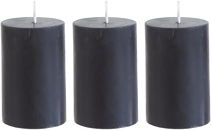 Mega Candles 3 pcs Unscented Black Round Pillar Candle, Hand Poured Premium Wax Candles 2 Inch x 3 Inch, Home Décor, Wedding Receptions, Baby Showers, Birthdays, Celebrations, Party Favors & More