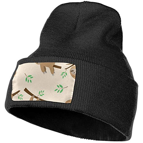 (Mens Womens 100% Acrylic Knitting Hat Cap, Sloth Sleeping and Hanging On Tree Pattern Cute Skull Cap Black)