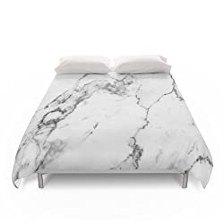"""Society6 Duvet Covers, Queen: 88"""" x 88"""", White Marble I by theaestate"""