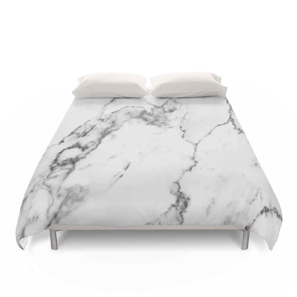 Society6 White Marble I Duvet Covers Full: 79'' x 79''