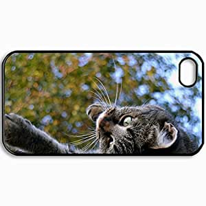 Customized Cellphone Case Back Cover For iPhone 4 4S, Protective Hardshell Case Personalized Cat Is Mustache Eyes Black