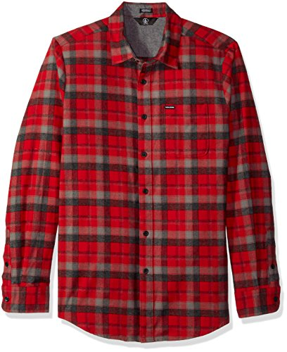 (Volcom Men's Caden Classic Flannel Long Sleeve Shirt, Deep (RED),)